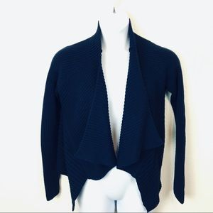 Chunky Knit Cropped Open Cardigan in Navy Size L